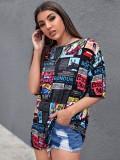 Camisa holgada con cuello redondo y estampado de estilo callejero de verano