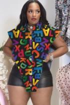 Blusa Irregular Con Abertura Negra Con Estampado De Verano