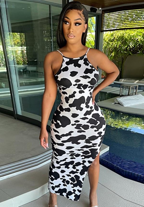 Vestido de fiesta largo sexy con correa de hendidura con estampado de vaca de verano