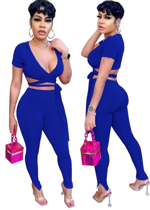 Summer Blue Ribbed Wrap Crop Top y Pantalones 2 piezas Set