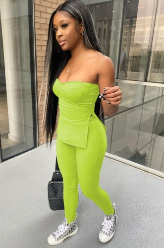 Summer Party Green Slit Tube Top y pantalones 2 piezas Set