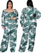 Sonbahar Büyük Beden Baskı Yeşil Crop Top ve Eşleşen Pantolon 2'li Takım
