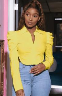 Sonbahar Sarı Puf Kollu Kısa Bluz