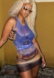 Mini vestido ajustado sin mangas sexy con estampado de fiesta de verano