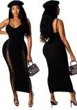 Vestido largo con tirantes acanalados negros de fiesta de verano