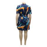 Vestido de blusa multicolor informal de talla grande de verano