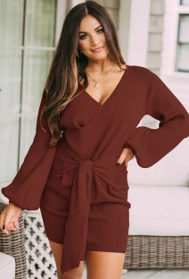 Autumn Red Knit Puff Sleeve Knotted Wrap Mini Dress