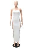 Vestido largo con tirantes acanalados blancos de fiesta de verano