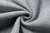 Chaleco de punto gris informal de verano y pantalones cortos a juego Ropa de estar de 2 piezas