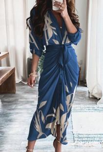 Vestido largo fruncido con estampado azul formal de otoño