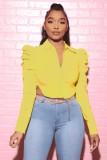 Blusa corta con mangas abullonadas amarillo otoñal