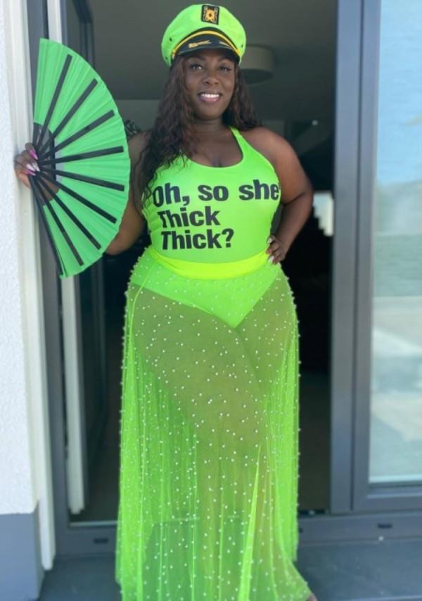 Conjunto de 2 piezas de body con estampado sexy verde de talla grande de verano y falda de malla con cuentas