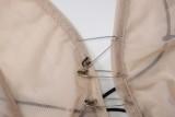 Vestido largo con tirantes transparentes beige de fiesta de verano