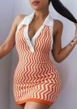 Minivestido ajustado sin mangas ondulado de punto de verano