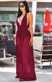 Summer Red Sexy Deep-V Halter Vestido largo de tirantes