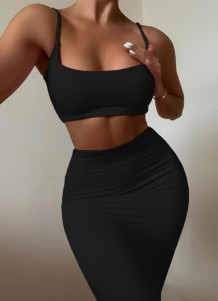 Summer Party Sexy Black Strap Crop Top and Tight Skirt 2PC Set