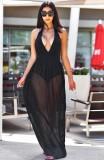Summer Black Sexy Deep-V Halter Vestido largo de tirantes
