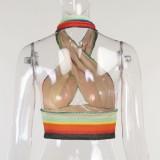 Fiesta de verano Top corto con cuello halter cruzado arcoíris de punto sexy