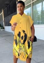 Vestido de blusa larga con estampado casual de verano con mangas cortas