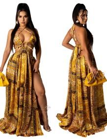 Maxi abito lungo con stampa estiva oro sexy con o-ring all'americana