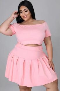 Summer Plus Size Pink Off Shoulder Crop Top y Falda plisada Conjunto de 2 piezas