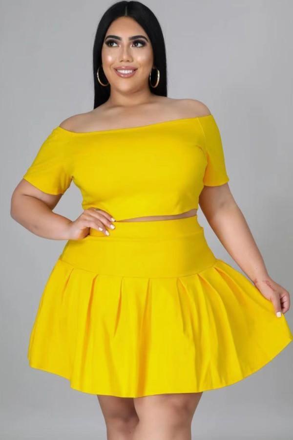 Summer Plus Size Yellow Off Shoulder Crop Top y Falda plisada Conjunto de 2 piezas