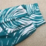 Conjunto de 2 piezas de pantalón a juego y top verde con estampado de tallas grandes de otoño
