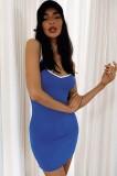 Mini vestido sin mangas con correa azul informal de verano