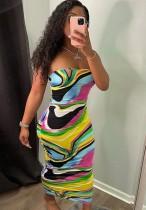 Vestido de tubo sexy multicolor con estampado de fiesta de verano
