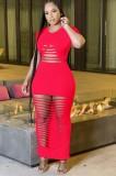 Vestido de camisa larga sexy rasgado rojo de fiesta de verano