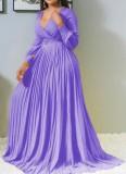 Vestido maxi plisado con cuello en V de manga larga púrpura formal de otoño sin cinturón