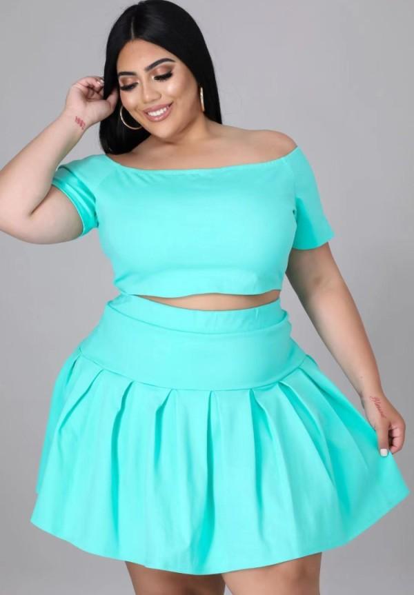 Summer Plus Size Green Off Shoulder Crop Top y Falda plisada Conjunto de 2 piezas