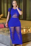 Vestido de camisa larga sexy rasgado azul de fiesta de verano