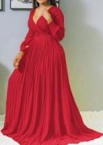 Vestido maxi plisado con cuello en V de manga larga rojo formal de otoño sin cinturón
