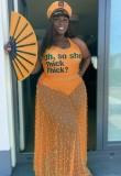 Summer Plus Size Orange Sexy Print Body y falda de malla con cuentas 2PC Set