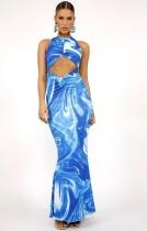 Festa de verão sexy estampado azul com corte longo vestido de noite sem mangas