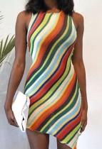 Fiesta de verano Mini vestido sin mangas sin mangas con arco iris de punto sexy