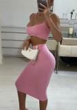 Summer Party Sexy Pink Strap Crop Top y Falda ajustada Conjunto de 2 piezas