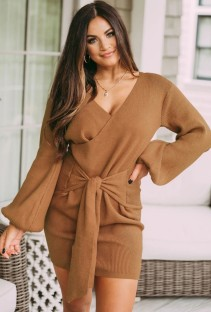 Autumn Khaki Knit Puff Sleeve Knotted Wrap Mini Dress