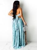 Vestido largo largo con cuello halter sexy azul estampado de verano