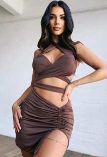 Summer Party Sexy Solid Wrap Crop Top and Slit Mini Skirt 2PC Set
