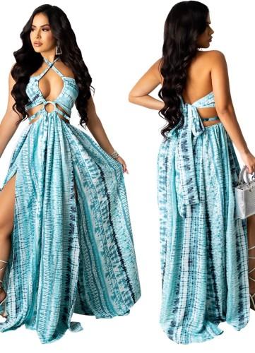 Robe longue imprimée d'été bleue sexy à licou et licou