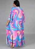 Traje de baño arcoíris sexy de cintura alta de talla grande con encubrimiento a juego