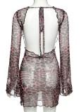 Mini vestido de leopardo sin espalda sexy fiesta de verano