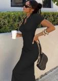 Vestido de camisa larga delgada de punto negro casual de verano
