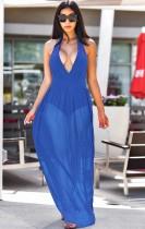 Summer Blue Sexy Deep-V Halter Vestido largo de tirantes