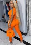 Conjunto de 2 piezas de top corto naranja informal de verano y pantalones de chándal a juego