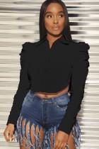 Осенняя черная короткая блузка с объемными рукавами