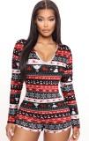 Mamelucos de salón con estampado navideño para mujer con mangas completas