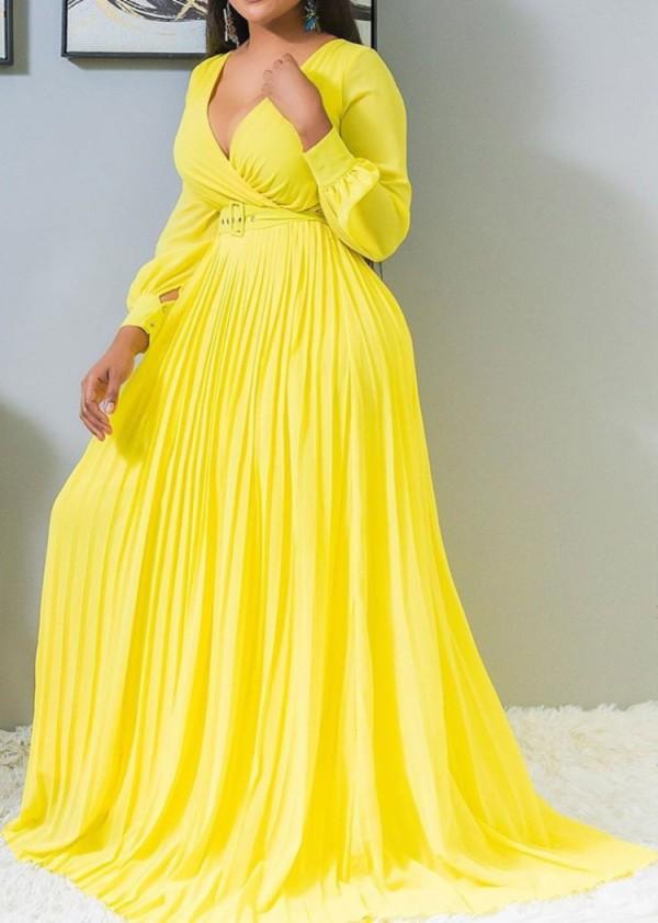 Vestido largo plisado con cuello en V y manga larga amarillo formal de otoño sin cinturón